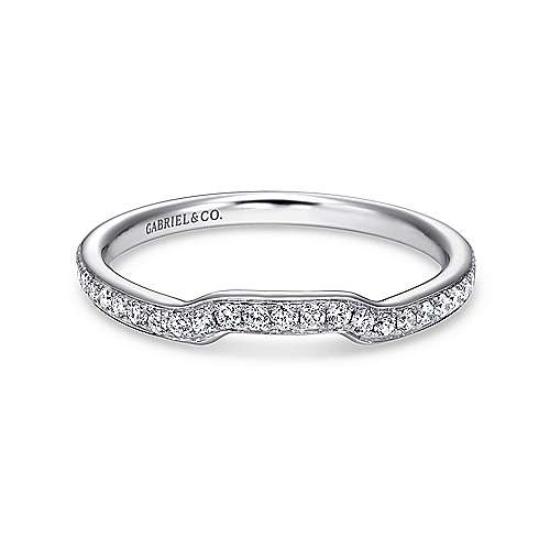 14k White Gold Contemporary Curved
