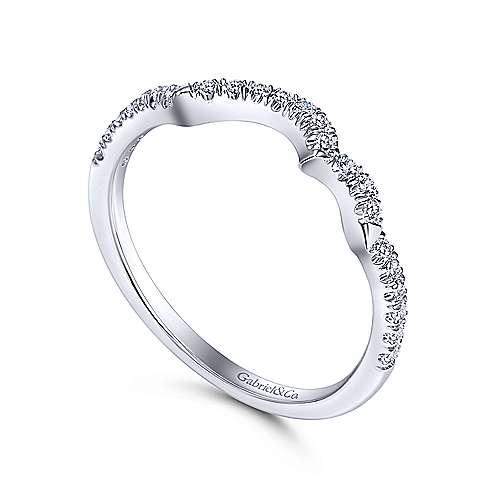 14k White Gold Diamond Curved Wedding Band angle 3