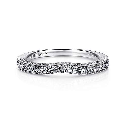 14k White Gold Victorian Curved