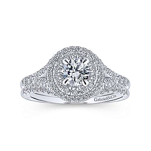 14k White Gold Diamond Curved Wedding Band angle 4