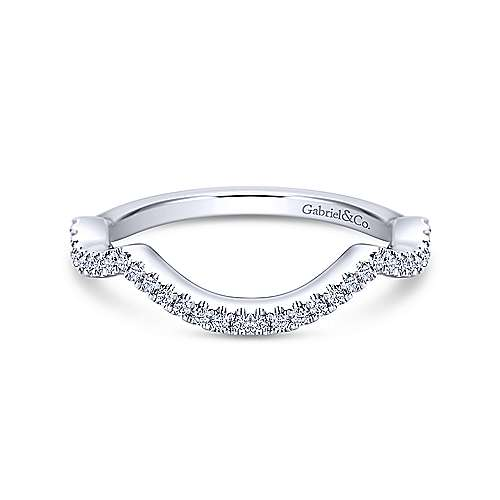 14k White Gold Diamond Curved Wedding Band angle 1
