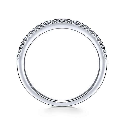 14k White Gold Diamond Curved Wedding Band angle 2