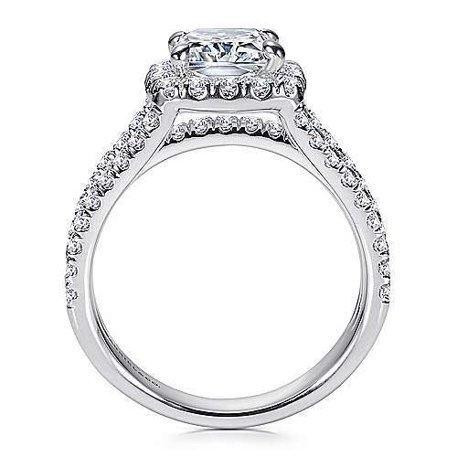 14k White Gold Diamond Cushion Cut Halo Triple Pave Engagement Ring angle 2