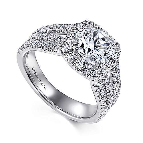 14k White Gold Diamond Cushion Cut Halo Triple Pave Engagement Ring angle 3