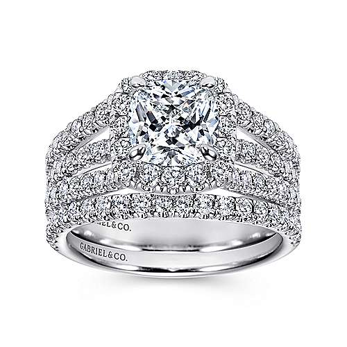 14k White Gold Diamond Cushion Cut Halo Triple Pave Engagement Ring angle 4