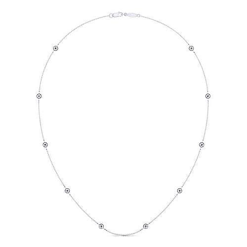 14k White Gold Diamond Diamond By The Yard Necklace angle 2