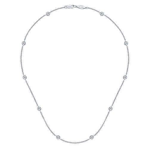 14k White Gold Diamond Diamond By The Yard Necklace angle 2