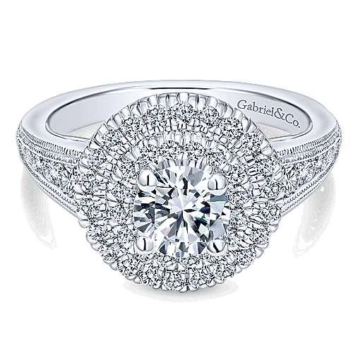 14k White Gold Diamond Double Halo