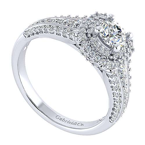 14k White Gold Diamond Double Halo Engagement Ring angle 3