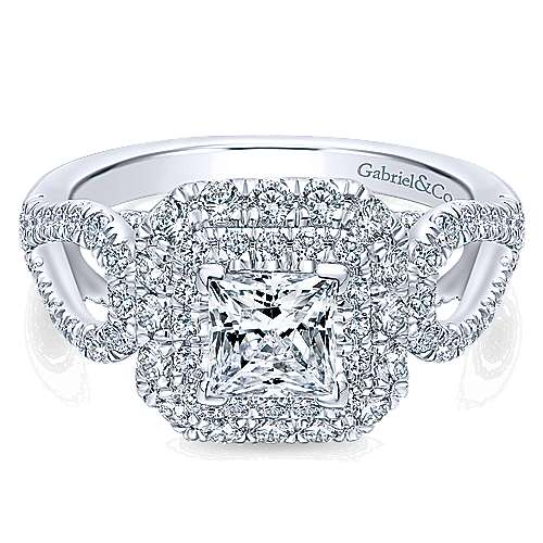 14k White Gold Princess Cut Double Halo