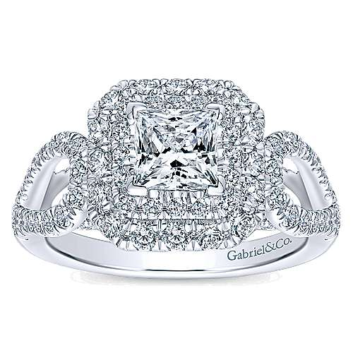 14k White Gold Diamond Double Halo Engagement Ring angle 5