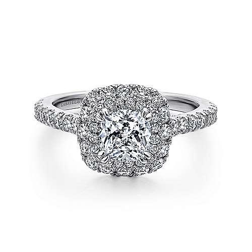14k White Gold Cushion Cut Double Halo Engagement Ring ER C4W44JJ Engagem