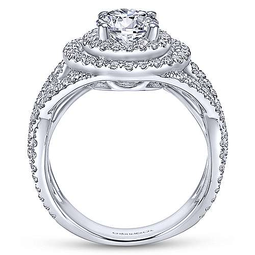 14k White Gold Diamond Double Halo Engagement Ring angle 2