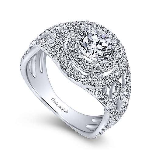 14k White Gold Diamond Double Halo Engagement Ring angle 3