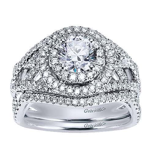 14k White Gold Diamond Double Halo Engagement Ring angle 4