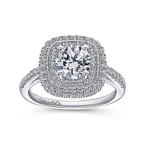 14k White Gold Diamond Double Halo Engagement Ring angle 5