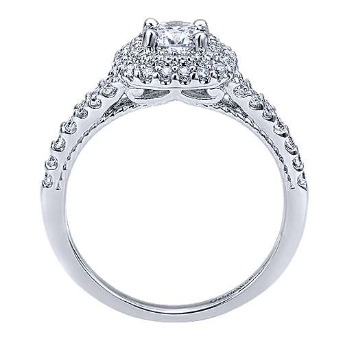 14k White Gold Diamond Double Halo Engagement Ring angle 2