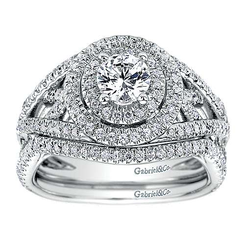 14k White Gold Diamond Double Halo Engagement Ring angle 4