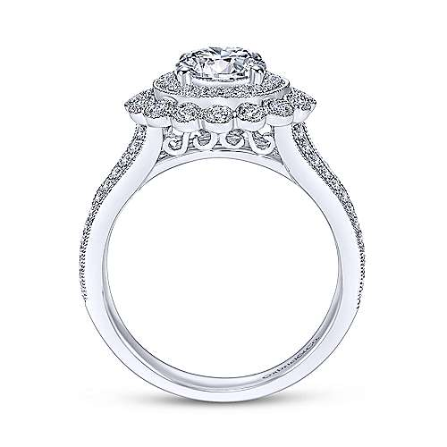 14k White Gold Diamond Double Pave Halo Engagement Ring with Channel Split Shank angle 2