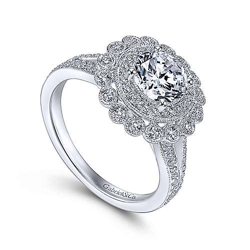 14k White Gold Diamond Double Pave Halo Engagement Ring with Channel Split Shank angle 3