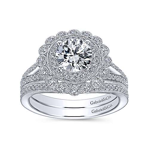 14k White Gold Diamond Double Pave Halo Engagement Ring with Channel Split Shank angle 4