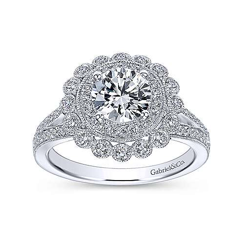 14k White Gold Diamond Double Pave Halo Engagement Ring with Channel Split Shank angle 5