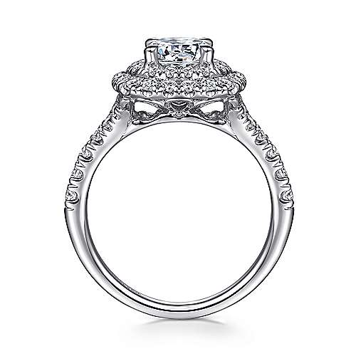 14k White Gold Diamond Double Pave Halo Round Engagement Ring angle 2