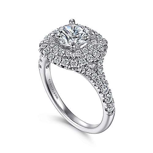 14k White Gold Diamond Double Pave Halo Round Engagement Ring angle 3