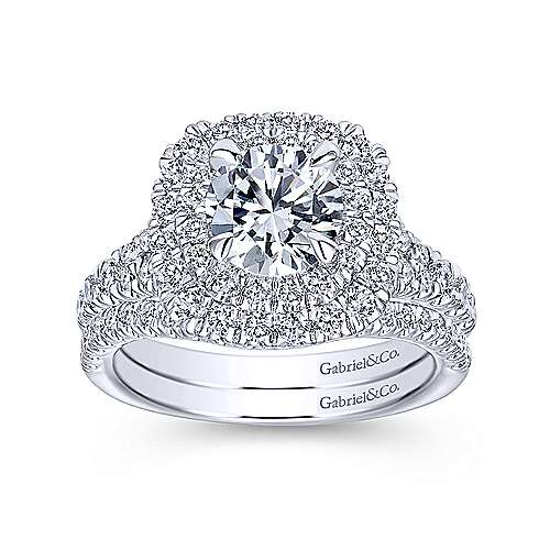 14k White Gold Diamond Double Pave Halo Round Engagement Ring angle 4
