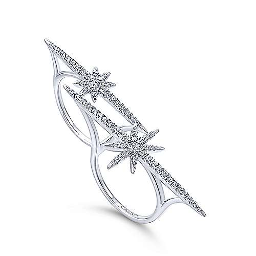 14k White Gold Diamond Double Ring Ladies