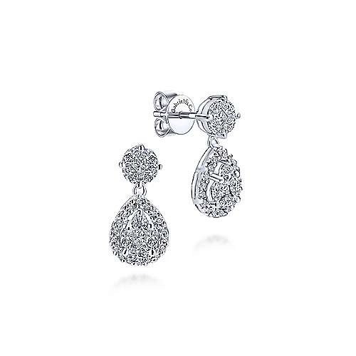 Gabriel - 14k White Gold Clustered Diamonds Drop Earrings