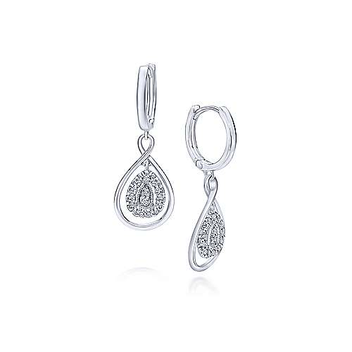 14k White Gold Contemporary Drop