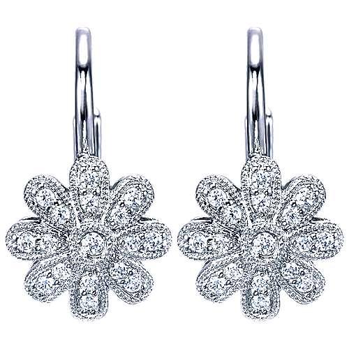 Gabriel - 14k White Gold Floral Drop Earrings