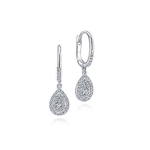 14k White Gold Clustered Diamonds Drop