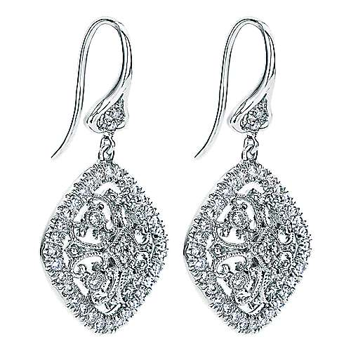 14k White Gold Diamond Drop Earrings angle 2