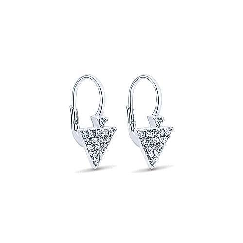 14k White Gold Diamond Drop Earrings angle 2