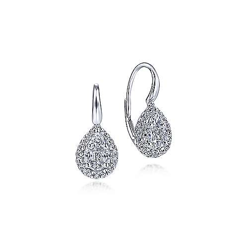 14k White Gold Diamond Drop Earrings angle 1