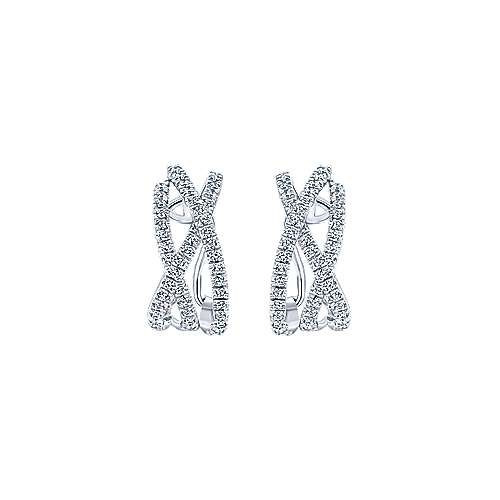 14k White Gold Diamond Drop Earrings angle 3