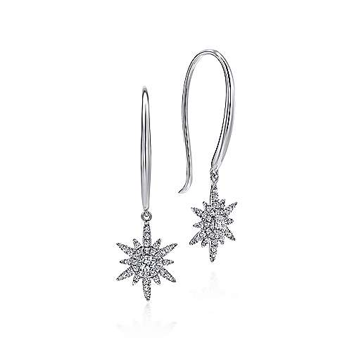 Gabriel - 14k White Gold Stellare Drop Earrings