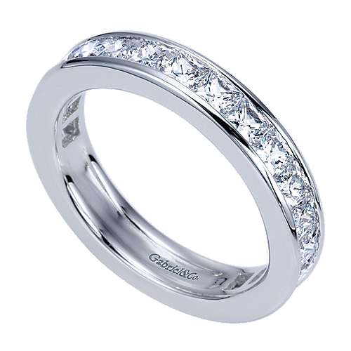 14k White Gold Diamond Eternity Anniversary Band angle 3