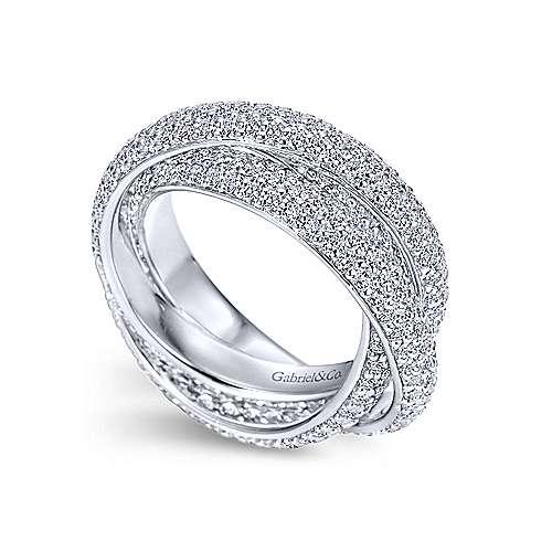 14k White Gold Diamond Eternity Anniversary Band angle 3