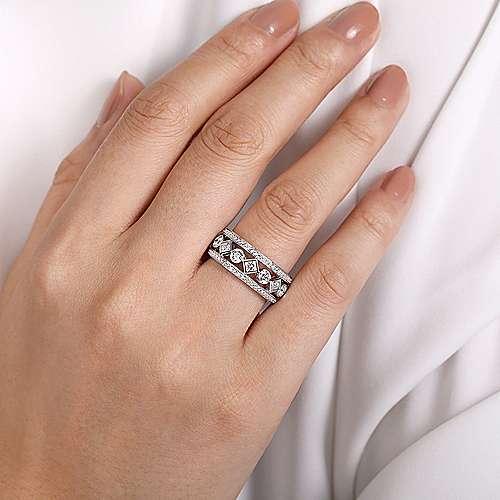 14k White Gold Diamond Eternity Anniversary Band angle 5