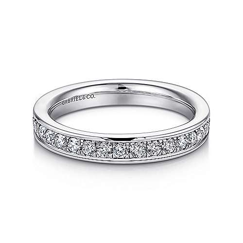 14k White Gold Diamond Eternity Band Anniversary Band angle 1