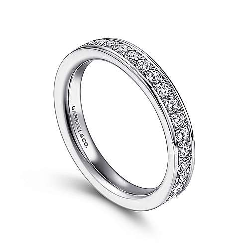 14k White Gold Diamond Eternity Band Anniversary Band angle 3