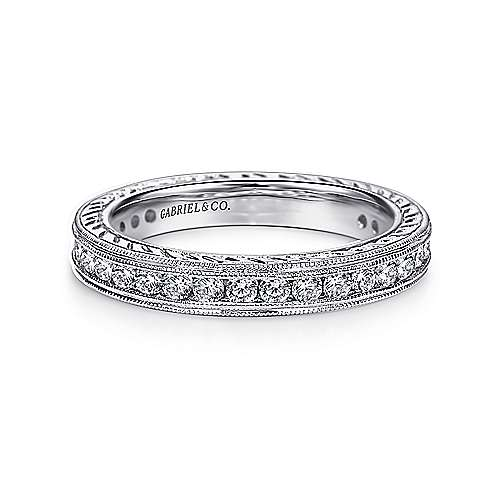 Gabriel - 14k White Gold Contemporary Eternity Band Anniversary Band