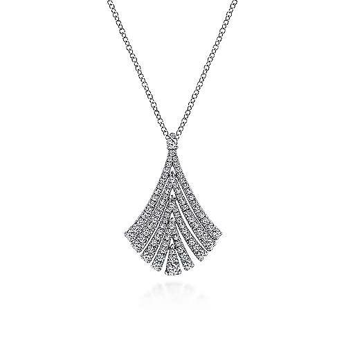Gabriel - 14k White Gold Diamond Fan Fashion Necklace