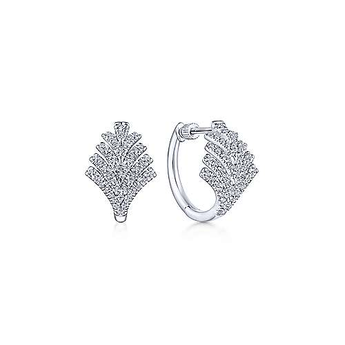 14k White Gold Diamond Fan Huggie Earrings