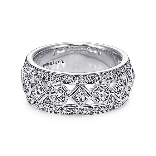 14k White Gold Diamond Fancy Anniversary Band angle 1