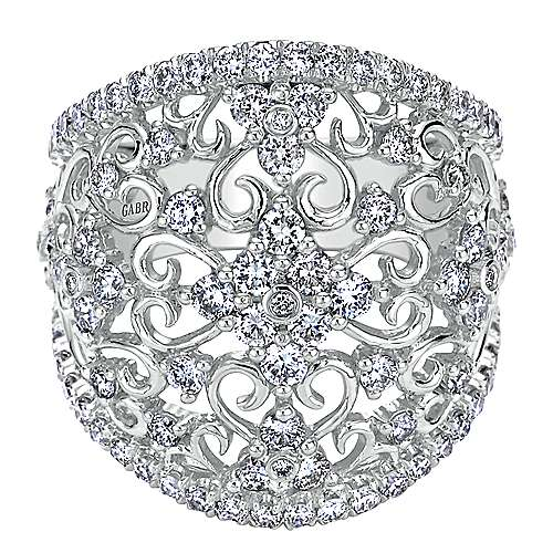 Gabriel - 14k White Gold Mediterranean Fashion Ladies' Ring