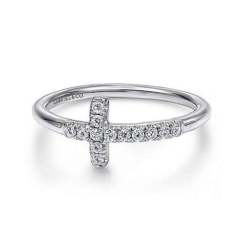 Gabriel - 14k White Gold Faith Fashion Ladies' Ring